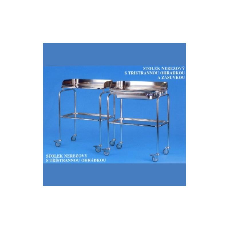Nerezový stolík s trojstrannou ohrádkou a zásuvkou