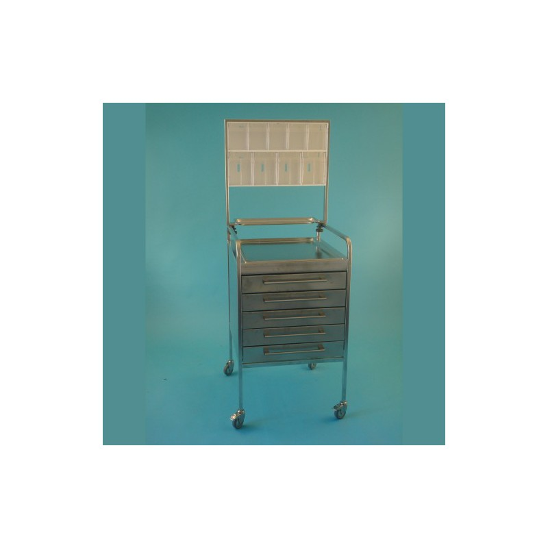 Stolík UNI nerezový s 5 zásuvkami 10 cm + nadstavba s 9 plast.boxami