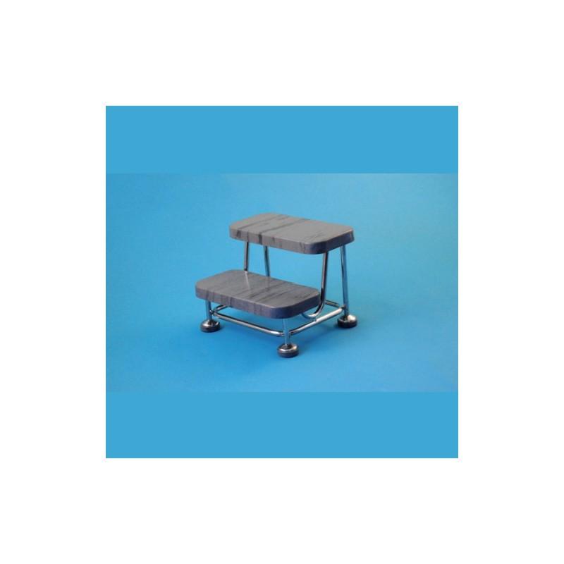 Pojazdný dvojschodík s gumovými stupni, kostra nerezová, antistatický