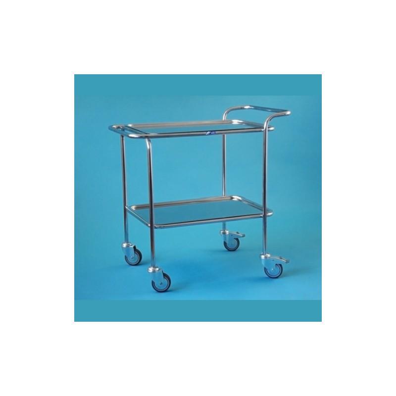 Nerezový vozík s hornou a zníženou rukoväťou, 2 podnosy