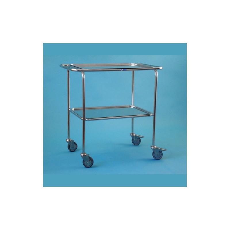 Nerezový vozík so zníženou rukoväťou, 2 podnosy