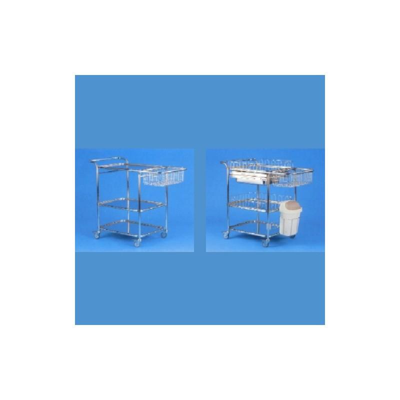 Nerezový vozík viacúčelový, 3 podnosy